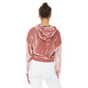 Alo Yoga Velour Cropped Sweatshirt Hoodie